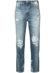 Ag Jeans Distressed High Rise Cotton Blue