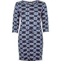 River Island Womens Blue Geometric Belted Bodycon Tunic