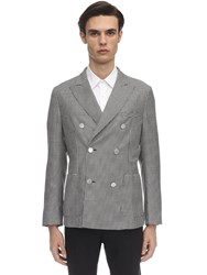 Tonello Double Breast Wool And Silk Blend Jacket White