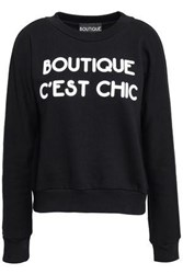 Boutique Moschino Printed French Cotton Terry Sweatshirt Black