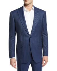 Stefano Ricci Tonal Stripe Two Piece Cashmere Blend Suit Dark Blue