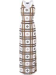 Fisico Print Fitted Maxi Dress White