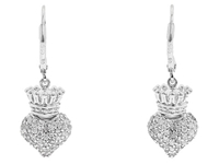 King Baby Studio Small 3D Crowned Heart Lever Back Earrings