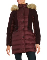 1 Madison Faux Fur Trimmed Down Walker Quilted Coat Pinot