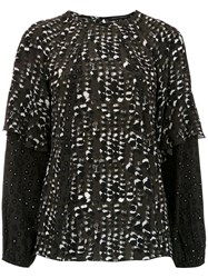 Andrea Marques Printed Long Sleeved Top Black