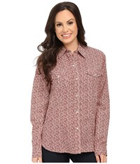 Roper 0118 Mini Floral Print Red Women's Long Sleeve Button Up