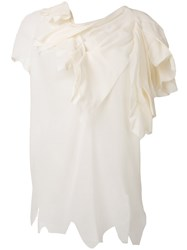 Aganovich Distressed Draped Neck T Shirt White