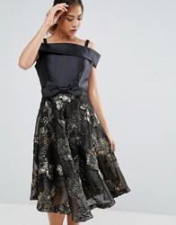 Amy Lynn Bardot Skater Dress With Jacquard Skirt Black Gold