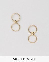 Asos Gold Plated Sterling Silver Open Circle Stud Earrings Gold