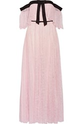 Giambattista Valli Off The Shoulder Chantilly Lace Gown Pastel Pink