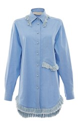 Francesco Scognamiglio Button Down Fringe Dress Light Blue
