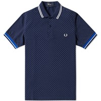 Fred Perry Printed Polka Dot Polo Blue