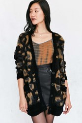 Ecote Leopard Brushed Boyfriend Cardigan Black Multi