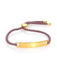 Monica Vinader Havana Hammered 18K Yellow Gold Vermeil And Pink Nylon Friendship Bracelet
