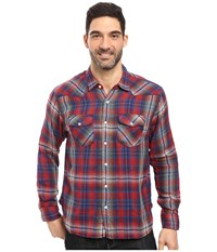 True Grit Montana Plaid Long Sleeve Two Pocket Western Shirt Blue Red Men's Clothing