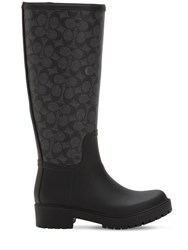 Coach 40Mm Westerly Tall Rubber Rain Boots Black