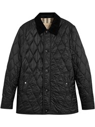 Burberry Check Detail Quilted Jacket With Corduroy Collar Black