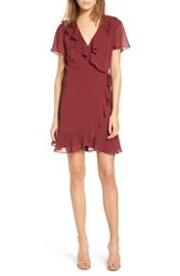 Lush Colie Ruffle Wrap Dress Cordovan