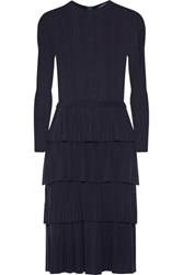 Oscar De La Renta Tiered Pointelle Knit Wool Dress Midnight Blue