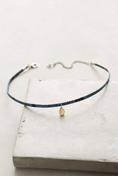 Anthropologie Stone Leather Choker Necklace Blue Motif