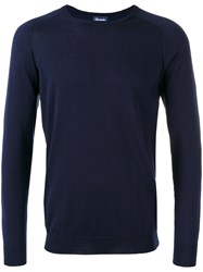 Drumohr Ribbed Trim Sweatshirt Men Cotton Cashmere 56 Blue