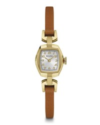 Bulova 18Mm Stainless Steel Leather Watch Brown