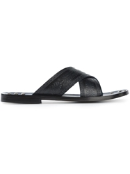 Pollini Engraved Criss Cross Sandals