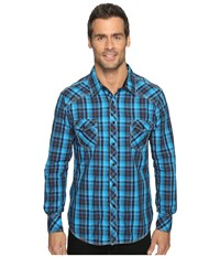 Rock And Roll Cowboy Long Sleeve Snap B2s9057 Turquoise Men's Long Sleeve Button Up Blue