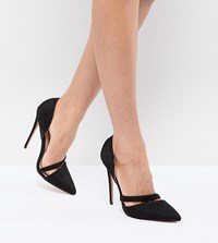 Lost Ink Black Cut Out Heeled Court Shoes