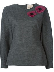 Erika Cavallini Semi Couture Flower Applique Sweater Grey