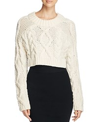 Dkny Merino Wool Cable Knit Cropped Sweater Chalk