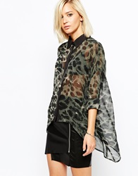 Religion Oversized Sheer Shirt With All Over Leopard Print Thymejetblack