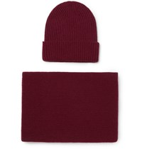 William Lockie Ribbed Cashmere Beanie And Scarf Set Claret