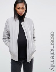 Asos Maternity Winter Bomber Jacket Silver Grey