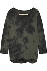 Raquel Allegra Tie Dyed Cotton Blend Jersey Top Army Green