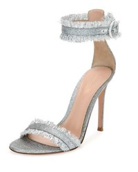 Gianvito Rossi Fringed Glitter Fabric D'orsay Sandal Silver