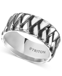 Triton Men's Sterling Silver Ring 10Mm Crossover Wedding Band