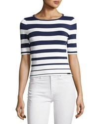 Pink Tartan Graduated Stripe Knit Top White Blue