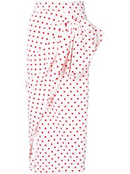 Bambah Polka Dot Ruched Skirt Women Polyester 10 White