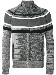 Dolce And Gabbana Striped Panel Cardigan Leather Virgin Wool Grey