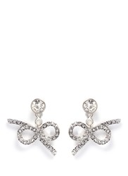 Kenneth Jay Lane Crystal Pave Bow Jacket Earrings Metallic