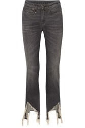 R 13 R13 Frayed Mid Rise Flared Jeans Gray