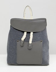 Liquorish Rope Detail Backpack Grey