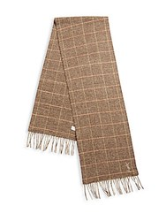 Yves Saint Laurent Wool And Cashmere Plaid Scarf Brown Multicolor