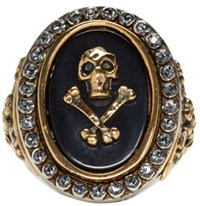 Alexander Mcqueen Silver Skull And Cross Bone Ring