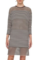 Akris Punto Women's Mesh Inset Stripe Stretch Cotton Dress
