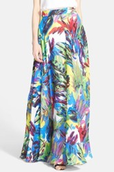 Milly Floral Print Silk Maxi Skirt Green