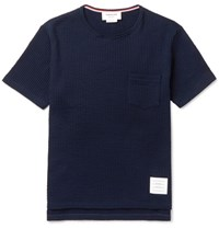 Thom Browne Ribbed Cotton Seersucker T Shirt Navy
