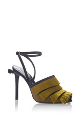 Marco De Vincenzo Satin Fringes Sandals Olive