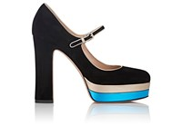 Valentino Women's Suede Mary Jane Platform Pumps Black